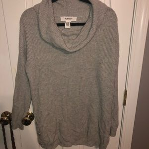 Long Grey Cowl Neck Sweater With Buttons